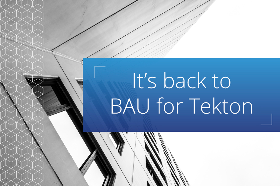 It's back to BAU for Tekton